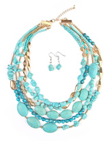 Riah Fashion Multi Strand Necklace Set