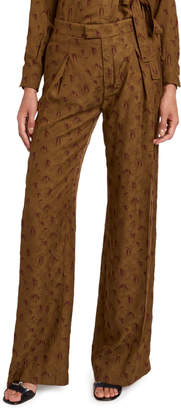 Chloé Palm Jacquard Wide-Leg Pants