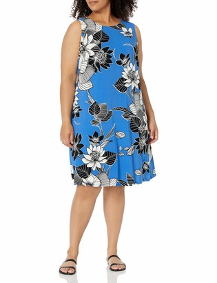 Kasper Women's Plus Size Graphic Floral Print Sleeveless Knit Dress