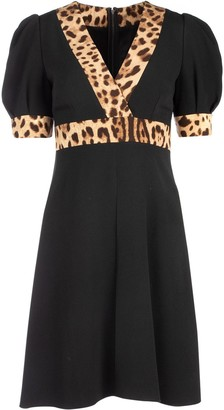 Dolce & Gabbana Leopard Trim Mini Dress