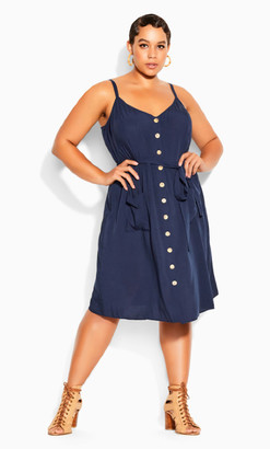 City Chic Date Day Dress - navy