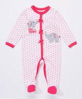 Buster Brown Fuchsia Purple & Bright White 'Cute Like Mommy' Interlock Footie