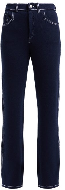 Barrie Denim Suit Straight Leg Cashmere Trousers - Womens - Navy White
