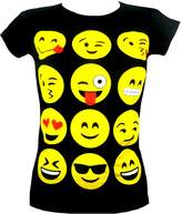 Ael Kids Emoji Emoticons Smiley Faces Short Sleeve T-Shirts Tops Girls Age New 7 9 11 13 Years
