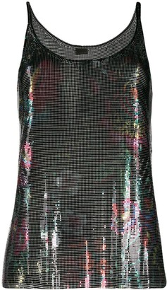 Paco Rabanne Floral Chainmail Top