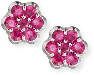 Bayco Platinum & Ruby Floral Stud Earrings