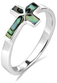 Aeravida Handmade Sideways Cross Stone Inlay Sterling Silver Ring