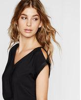 Express v-neck cold shoulder rolled sleeve blouse