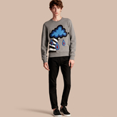 Burberry Weather Appliqué Detail Cotton Jersey Sweatshirt