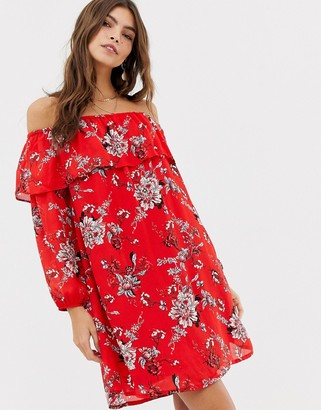 Glamorous off shoulder floral print dress