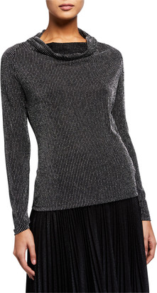 MICHAEL Michael Kors Metallic Sparkle Long-Sleeve Cowl-Neck Top