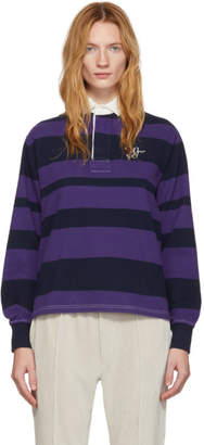 Wales Bonner Navy and Purple Rugby Polo