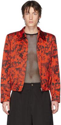 Dries Van Noten Red and Black Floral Zip-Up Jacket