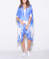 Paparazzi Blue & White Abstract Open-Front Duster
