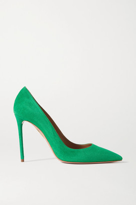 Aquazzura Purist 105 Suede Pumps - Green