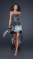 La Femme Bold Printed High Low Dress 17624
