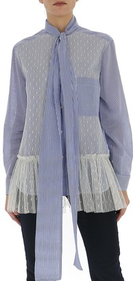 RED Valentino Striped Point D'esprit Tulle Shirt