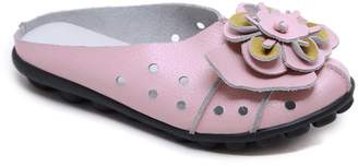 Rumour Has It Women's Mules Pink - Pink Floral Accent Leather Mule - Women