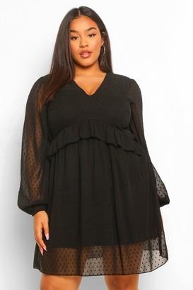 boohoo Plus Dobby Mesh Blouson Sleeve Ruffle Detail Dress