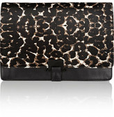Sandro Angy Leopard-Print Calf Hair And Leather Clutch