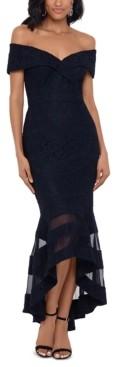 Xscape Evenings Off-The-Shoulder Illusion-Hem Lace Midi Dress