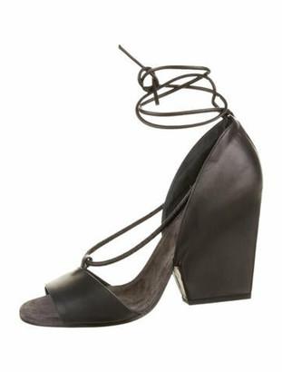 Brunello Cucinelli Leather Embellished Sandals Black