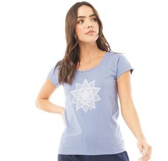 Board Angels Womens Mandala Star T-Shirt Denim Blue