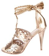 Alberta Ferretti Metallic Laser-Cut Sandals w/ Tags