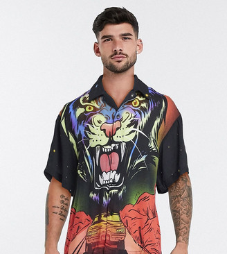 Reclaimed Vintage inspired all over tiger print shirt in black