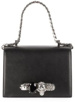 Alexander McQueen Small Skull Jewelled Leather Satchel