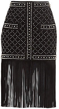 Balmain Women's Studded Fringe Suede Skirt