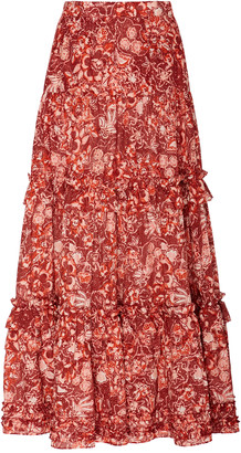 Ulla Johnson Amalia Floral-Print Cotton-Blend Midi Skirt