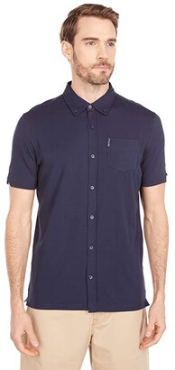 Ben Sherman Short Sleeve Supima Knit Button-Up Shirt (Navy Blazer) Men's Clothing