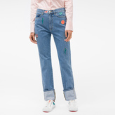 Paul Smith Women's Straight-Leg Turn-Up Jeans With Embroidered Patches