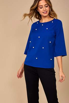 Iclothing iClothing Sarah Occasion Top with Pearl Detail in Blue