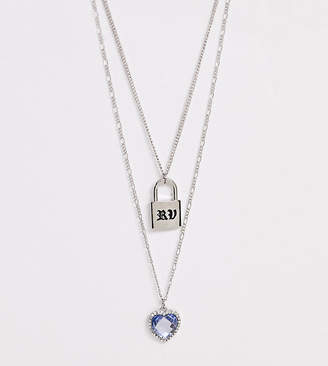 Reclaimed Vintage inspired multirow necklace with heart and padlock pendant-Silver