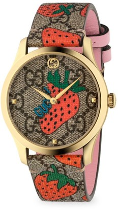 Gucci G-Timeless Contemporary Strawberry Goldtone PVD Watch
