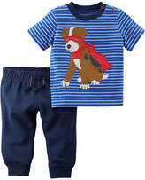 Carter's Super Dog Short Sleeve Tee & Pant 2 Piece Set - Baby Boy NB-24M