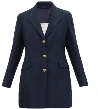 Giuliva Heritage Collection The Karen Longline Linen-blend Boucle Blazer - Navy