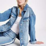 River Island Womens Light blue ripped denim boyfriend jacket