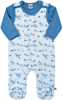 Pippi Solid Cotton Romper & Printed Footie Set