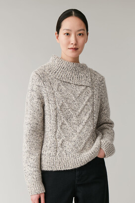 Cos Cable Knit Top With Split Neck