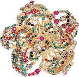 22-karat gold Swarovski crystal rose brooch
