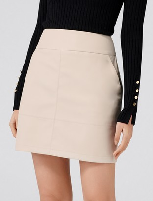 Forever New Amanda A-line PU Mini Skirt - Iced Latte - 12