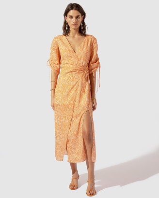SUBOO Sienna Jungle Floral Wrap Sleeved Dress