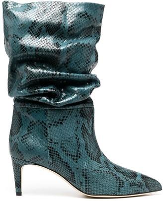 Paris Texas Snakeskin-Effect 65mm Slouch Boots