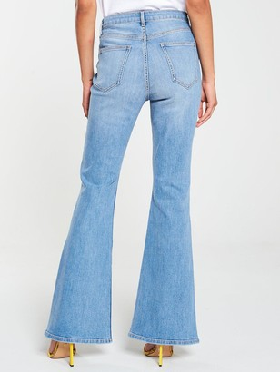 Very High Waist Button Detail Skinny Flare Jeans - Mid Wash