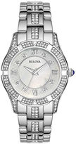 Bulova Womens Crystal-Accent Silver-Tone Bracelet Watch 96L116