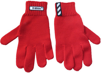 Off-White Red Wool Gloves