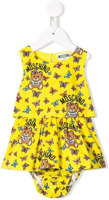 MOSCHINO BAMBINO Logo Butterfly Print Dress